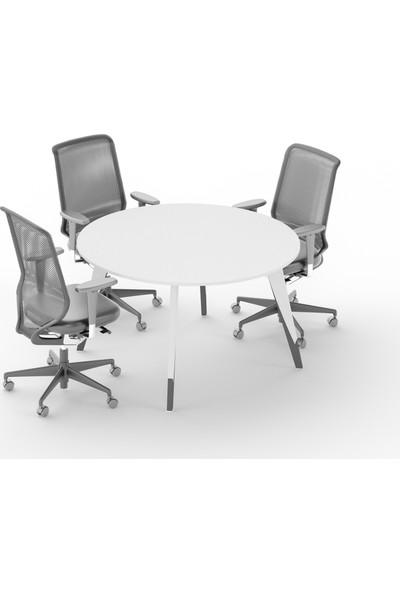 Uzay Ofis Royal Yuvarlak Toplantı Masası - Beyaz - Antrasit