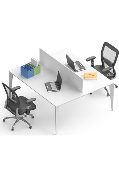 Uzay Ofis Lotus Çoklu Çalışma Masası - 2 Kişilik - Beyaz - Beyaz - 120 cm