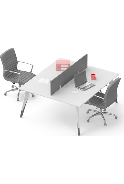 Uzay Ofis Ritim Çoklu Çalışma Masası - Beyaz-Füme 2 Kişilik - 120 cm