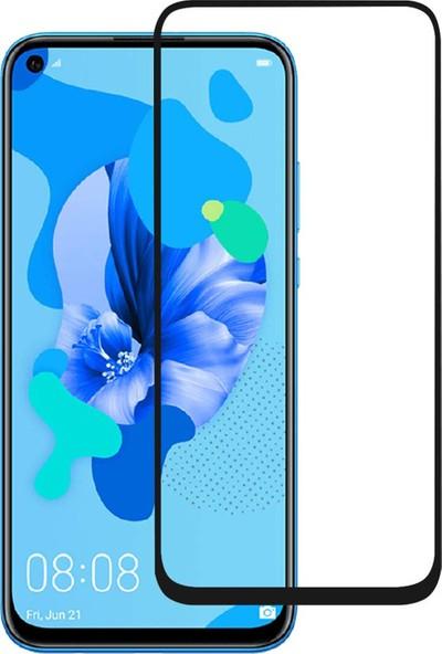 Microcase Huawei Nova 5i Tam Kaplayan Çerçeveli Tempered Ekran Koruyucu - Siyah