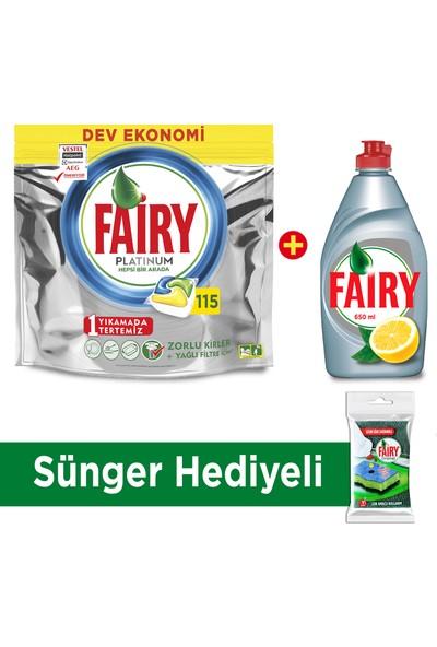 Fairy Platinum 115 Yıkama + Fairy Platinum 650 ml Sıvı + Sünger