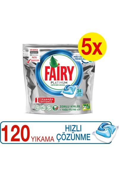Fairy Platinum Bulaşık Makinesi Deterjanı Kapsülü Hızlı Çözünme 24 x 5 120 Yıkama