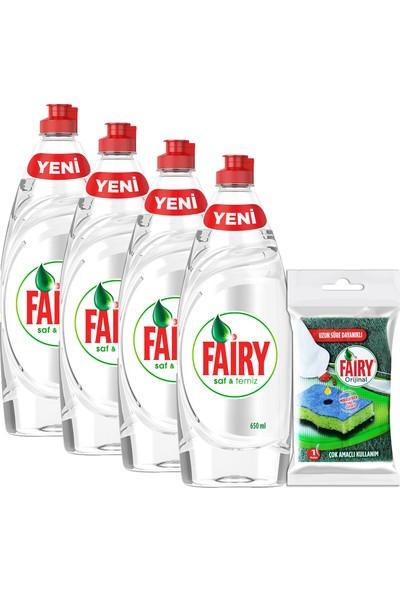 Fairy Saf ve Temiz 650 ml 4'lü Bulaşık Deterjanı + Fairy Sünger Hediyeli