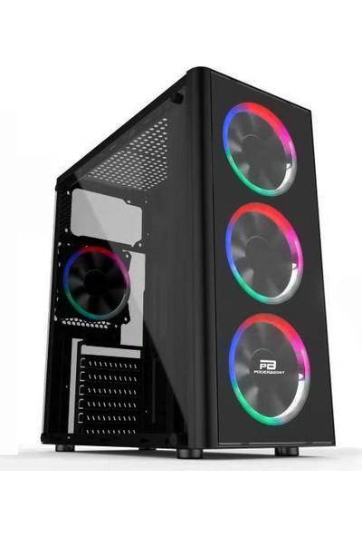 Power Boost VK-G2080C USB 3.0 ATX Acrylic Single Ring Rainbow Fan Siyah Kasa (PSU Yok) (JBST-VKG2080C)