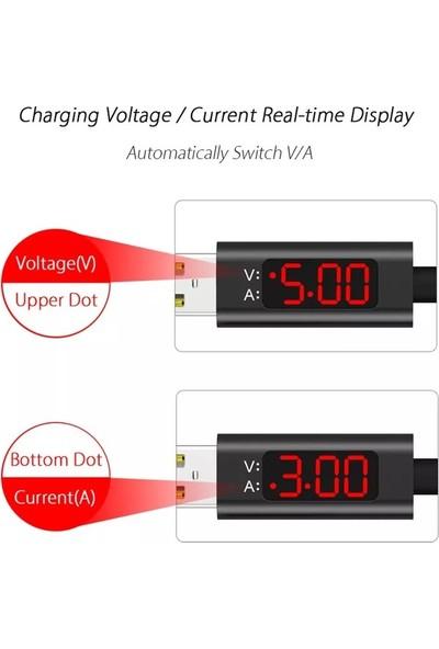 Judas Type-C LED V - A Göstergeli Hızlı Dayanıklı Şarj ve Data Kablosu 1 mt - Kırmızı