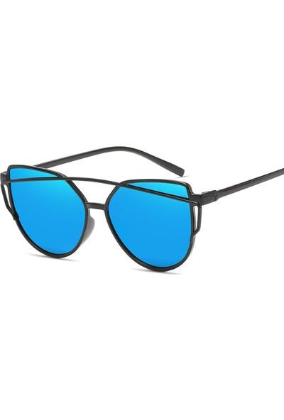 VipBT Kedi Gözü Güneş Gözlüğü Retro Ayna Kaplama Mavi