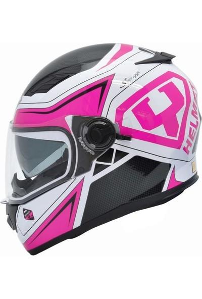 Yohe Ff 970 Beyaz Pembe Bayan Motosiklet Kaskı