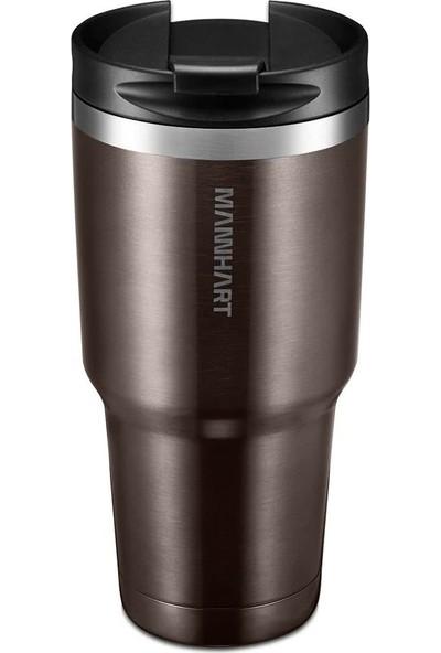 Mannhart by Spigen B201 Sızdırmaz Vakumlu Çift Katmanlı Travel Mug Paslanmaz Çelik Termos 887 ml Hot 6h / Cold 24h Brown - 000HP26029