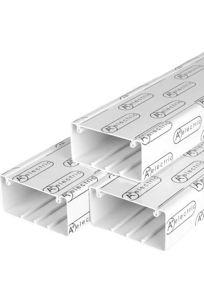 A Plus Elektrik 100x50 mm Güçlü Yapışkan Bantlı Beyaz 8x2m=16m Kablo Kanalı