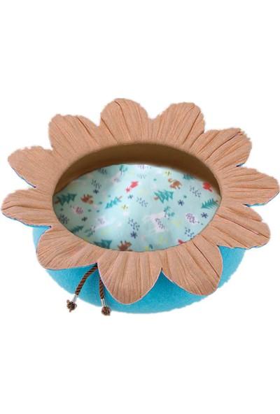 Pets Çiçek Şekilli Kedi Yatağı Kahverengi/Mavi Ø50 Cm