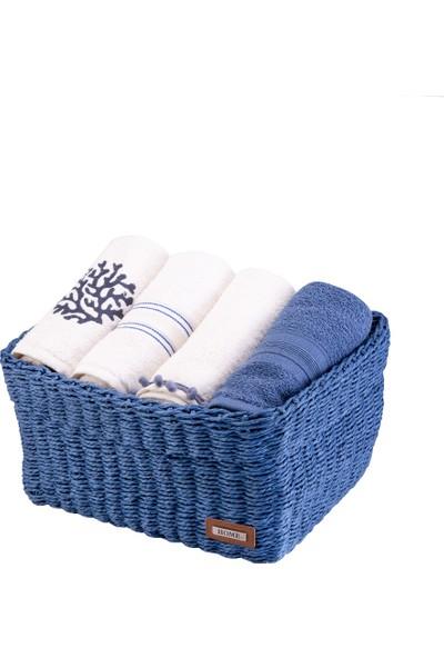 Karaca Home Lovage Mavi Hasır Sepetli 4lü Havlu 50x76 cm