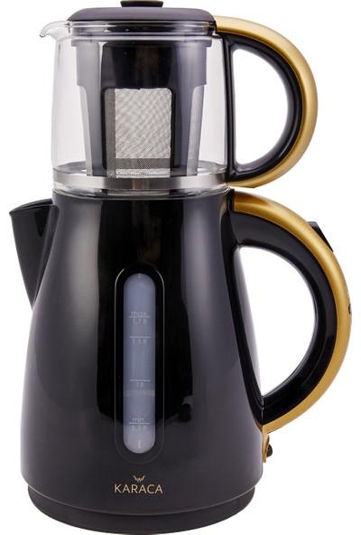 Karaca Çift Rezistanslı Çay Makinesi-Kettle 1501 Blackgold 2108