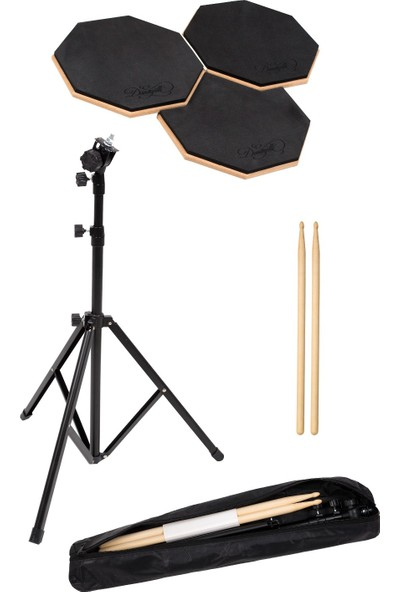 Donizetti Bateri Drum Pratik Çalışma Pedi ve Standı + Baget 3'lü