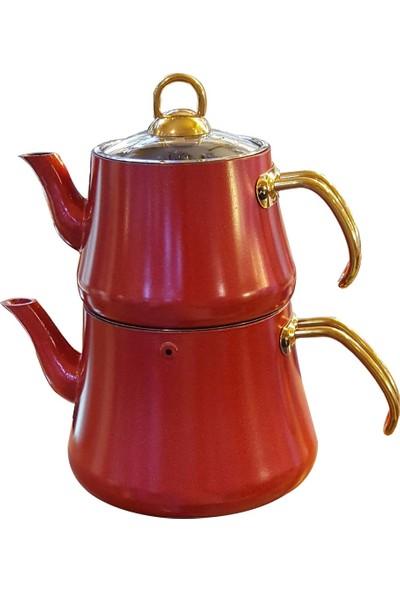 Oms Granit Çaydanlık Takımı Kırmızı