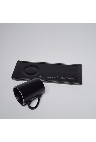 Keramika Kahve Fincan Takimi Mat Siyah 2 Parça 1 Kişilik