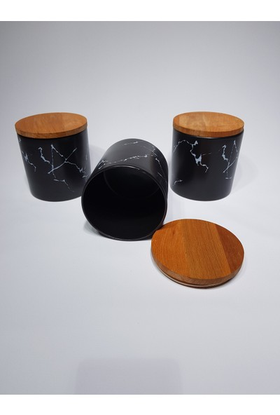 Keramika Baharat Takımı 12 cm 3 Parça Mermer Desen Siyah
