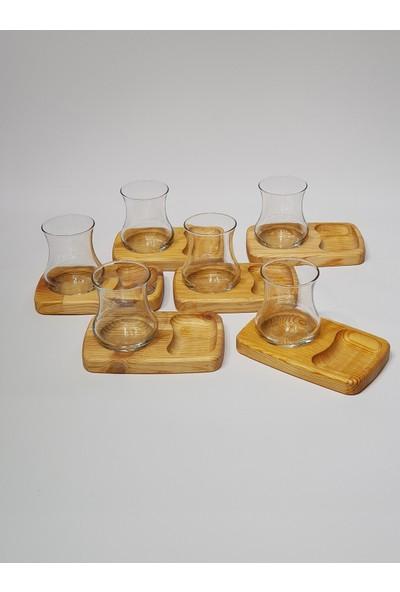 Keramika Özel Üretim Ahsap Ikramlık Çay Takimi 12 Parça