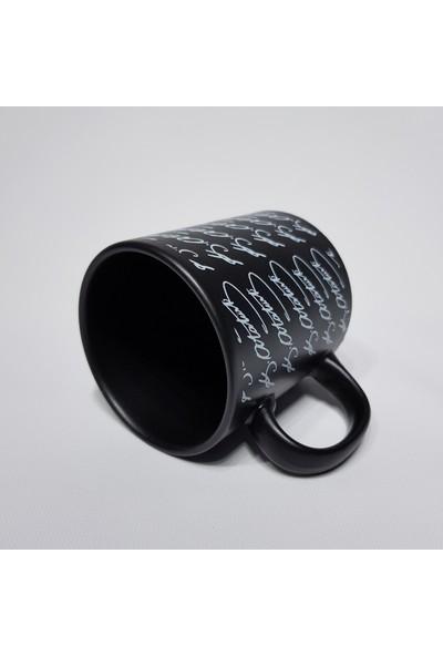 Keramika Kupa Silindirik 10 cm Mat Siyah Kemal Ataturk Imza
