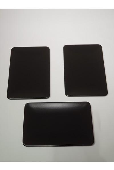 Keramika 3 Adet 31*21 cm Mat Siyah Kayık Servis Tabağı