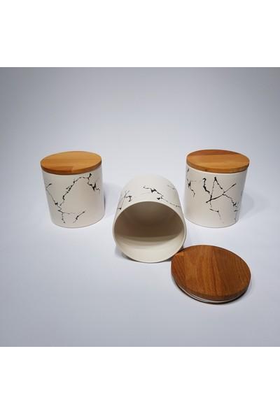 Keramika Baharat Takımı 12 cm 3 Parça Mermer Desen Krem
