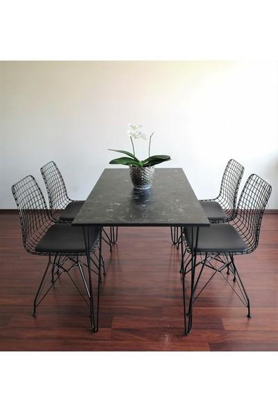 Ophelia's Touch - Yemek & Mutfak Masası - Siyah Mermer Desenli Masa Takımı
