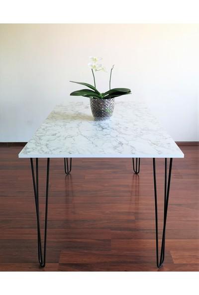 Ophelia's Touch - Yemek & Mutfak Masası - Beyaz Mermer Desenli Masa Takımı