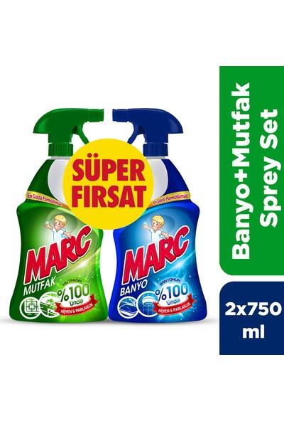 Marc Banyo ve Mutfak Temizleyici Yağ Çözücü & Kireç Sökücü Sprey 2'li Set (2x750 ml)
