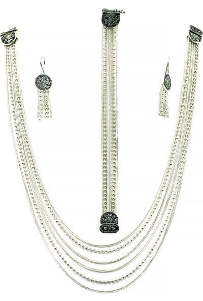 Aykat Akıtmalı Midyat Hasırı Gümüş Takım Çok Zincirli Kolye Bileklik Küpe Seti TKM-202
