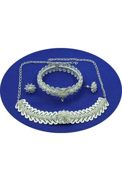 Aykat Telkari Gümüş Takım Bilezik Kolye Küpe Bayan Üçlü Seti Model Kadın Takımı TKM-211