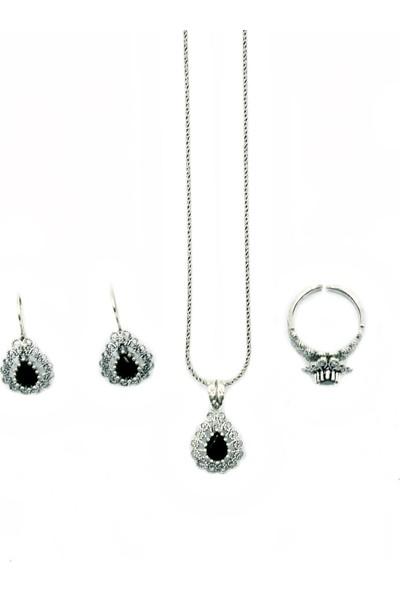 Aykat Siyah Renk Oniks Taşlı Telkari Damla Modeli Gümüş Bayan Set Yüzük Küpe Kolye SET-280