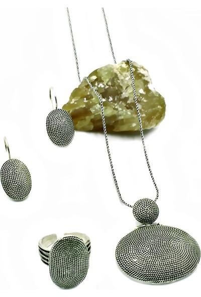 Aykat Telkari Gümüş Salyan Göz Modeli Oval Bayan Takım Yüzük Küpe Kolye Ucu SET-282