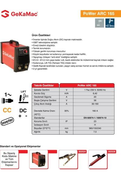 Gedik Kaynak GeKaMac Power ARC 165 MMA Elektrod Inverter Kaynak Makinesi