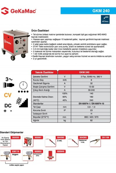 Gedik Kaynak GeKaMac GKM 240 Kompakt Gazaltı Kaynak Makinesi