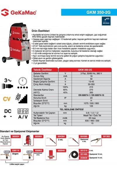 Gedik Kaynak GeKaMac GKM 350-2G Gazaltı Kaynak Makinesi