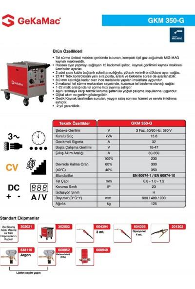 Gedik Kaynak GeKaMac GKM 350-G Kompakt Gazaltı Kaynak Makinesi