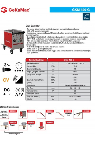 Gedik Kaynak GeKaMac GKM 420-G Gazaltı Kaynak Makinesi