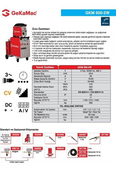 Gedik Kaynak GeKaMac GKM 600-2W Gazaltı Kaynak Makinesi