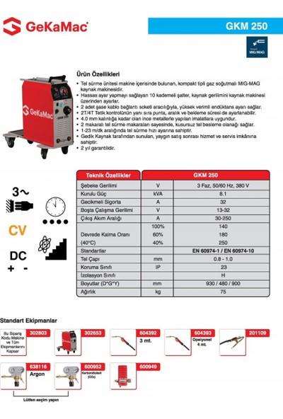 Gedik Kaynak GeKaMac GKM 250 Kompakt Gazaltı Kaynak Makinesi