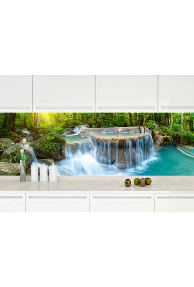 Renkli Duvarlar Mutfak Tezgah Arası Şelale Desenli Folyo Kaplama Sticker