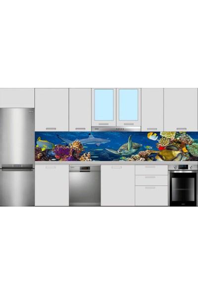 Renkli Duvarlar Mutfak Tezgah Arası Kaplumbağa Balık Mercan Desen Folyo Kaplama Sticker