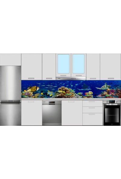 Renkli Duvarlar Mutfak Tezgah Arası Balık Akvaryum Desen Folyo Kaplama Sticker