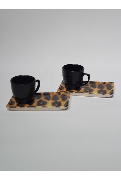 Keramika Iki Kisilik Leopar Desen Kahve Fincan Takimi 4 Parça