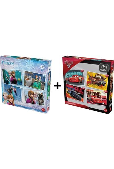 Disney Frozen ve Cars Arabalar Çocuk Puzzle Set 8 Puzzle 1 Arada