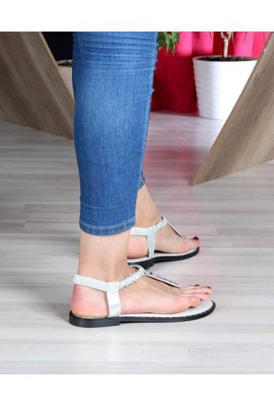 Mosimoso Gümüş Parmak Arası Taş İşlemeli Köprü Kemer Lastikli Kadın Sandalet