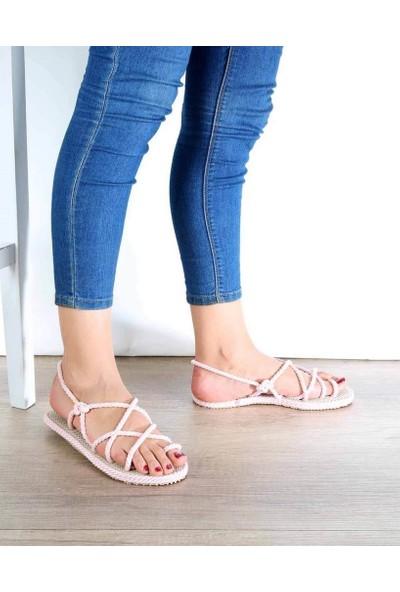 Mosimoso Pudra Halat Çapraz Örgü Parmak Arası Kadın Sandalet