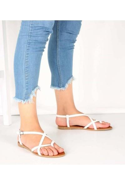 Mosimoso Beyaz Renk Çapraz Tasarım Parmak Arası Kadın Sandalet