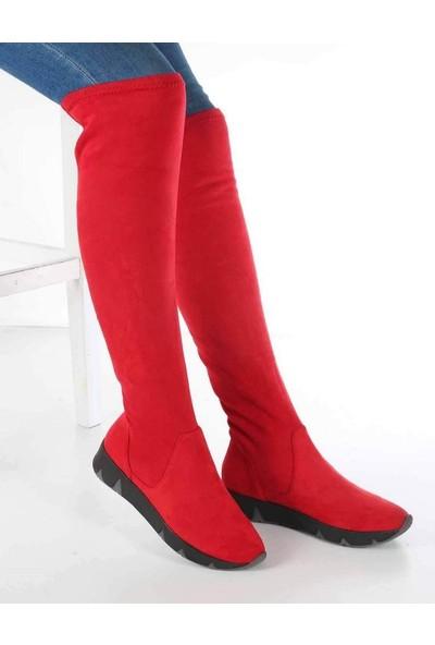 Mosimoso Manuela Kırmızı Süet Poli Taban Kadın Çizme