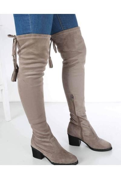 Mosimoso Fontana Ten Süet Diz Üstü Fermuarlı Topuklu Kadın Çizme