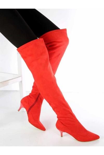 Mosimoso Zelinda Kırmızı Süet Fermuarlı Fındık Topuk Kadın Çizme