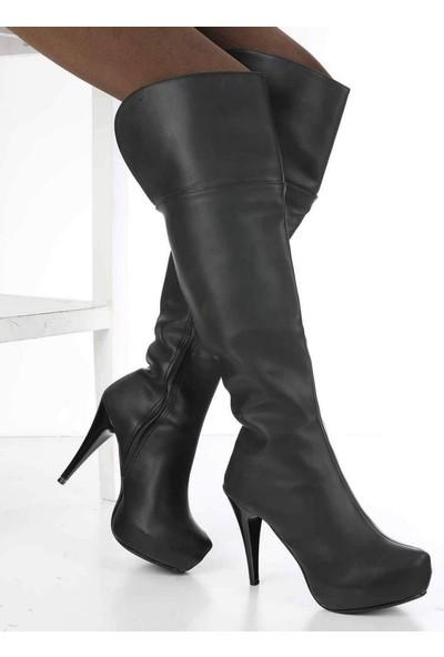 Mosimoso Geovani Siyah Cilt Gizli Taban Topuklu Fermuarlı Kadın Çizme